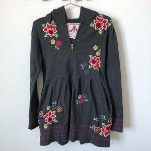 Johnny Was • embroidered peplum hoodie